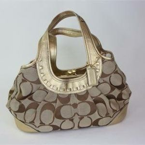 COACH VINTAGE COLLECTOR GOLD SIGNATURE JACQUARD